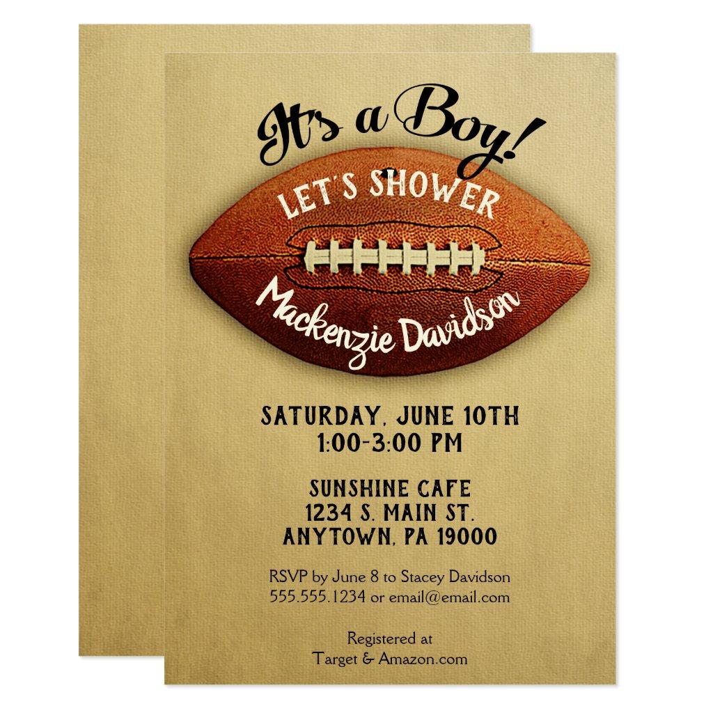 Vintage Football Baby Shower Invitation Boy Sports