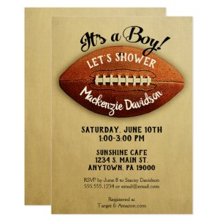 Vintage Football Baby Shower Invitation Boy Sports