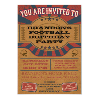 Vintage Football Birthday Party Invitation