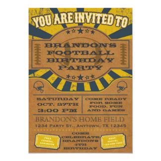 Vintage Football Birthday Party Invitation Yellow