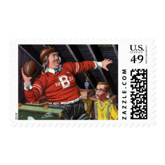 Vintage Football Dad and Son Postage Stamps