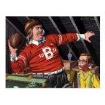 Vintage Football Dad and Son Postcard