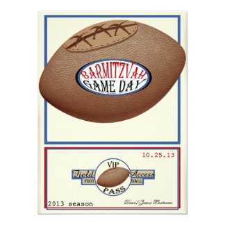 Vintage Football Field Pass Bar Mitzvah 5.5x7.5 Paper Invitation Card