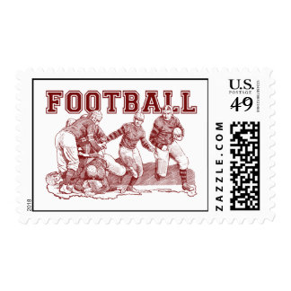 Vintage Football Illustration Gifts and Tees Postage Stamps