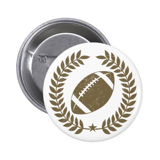 Vintage Football Olive Leaf and Star Pinback Buttons