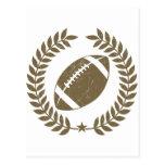 Vintage Football Olive Leaf and Star Postcard