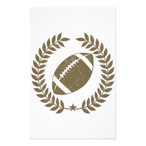 Vintage Football Olive Leaf and Star Stationery Paper