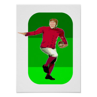 Vintage Football Player Carnival Cutout Poster
