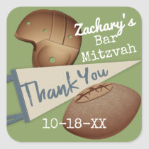 Vintage Football Thank You Square Sticker