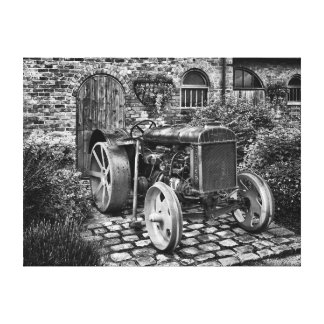 Vintage Fordson Tractor, black and white Canvas Print