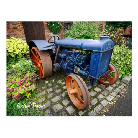 Vintage Fordson Tractor, Bredbury Hall Postcard