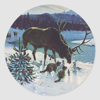 Vintage Forest Creatures and Elk in Winter Snow Classic Round Sticker