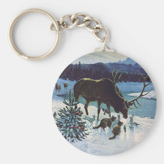 Vintage Forest Creatures and Elk in Winter Snow Keychain