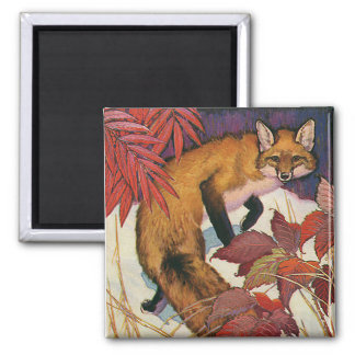 Vintage Forest Creatures Red Fox Wild Animal 2 Inch Square Magnet