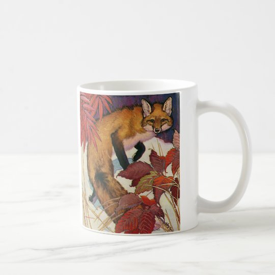 Vintage Forest Creatures Red Fox Wild Animal Coffee Mug