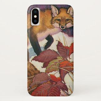 Vintage Forest Creatures Red Fox Wild Animal iPhone X Case