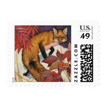 Vintage Forest Creatures Red Fox Wild Animal Postage