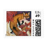 Vintage Forest Creatures Red Fox Wild Animal Postage Stamps