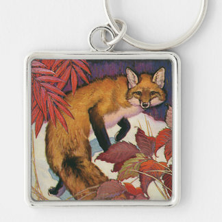 Vintage Forest Creatures Red Fox Wild Animal Silver-Colored Square Keychain