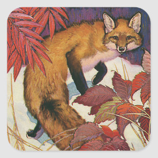 Vintage Forest Creatures Red Fox Wild Animal Square Sticker