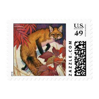 Vintage Forest Creatures Red Fox Wild Animal Stamp