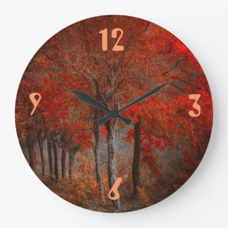 Vintage Forest Scene Large Clock