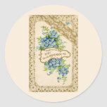 Vintage Forget-Me-Not Classic Round Sticker
