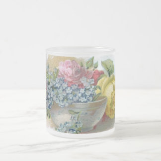 Vintage Forget Me Not Roses Frosted Glass Mug
