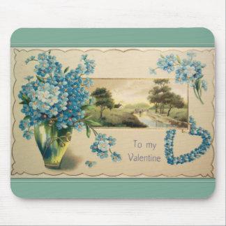 Vintage Forget-me-nots Valentine Mouse Pad