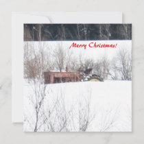 Vintage Forgotten Tractor Christmas Card