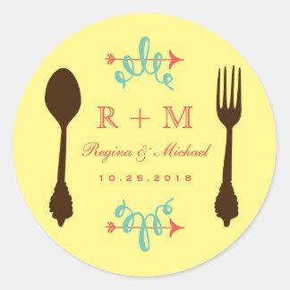 Vintage Fork Spoon Monogram Wedding Favor Sticker