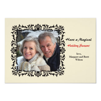 Vintage Formal Floral Photo Holiday Card