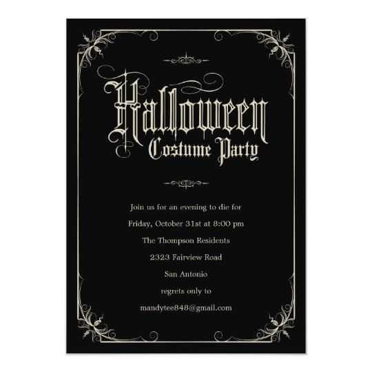 Vintage Formal Halloween Costume Party Invitations – Halloween Costume Party Invite