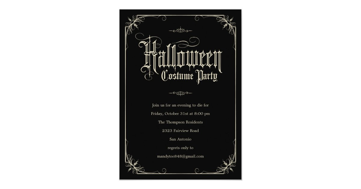 Vintage Formal Halloween Costume Party Invitations | Zazzle.com
