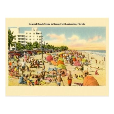 Beach Themed Vintage Fort Lauderdale Florida Beach Post Card