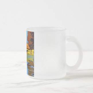 Vintage Fountainebleau France Travel Poster Frosted Glass Coffee Mug