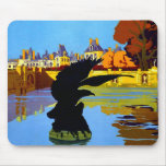 Vintage Fountainebleau France Travel Poster Mouse Pad