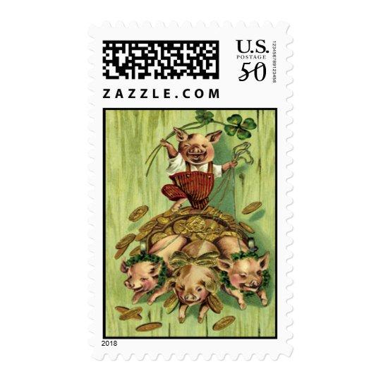 Vintage Four Leaf Clover Pig Gold St Patrick's Day Postage