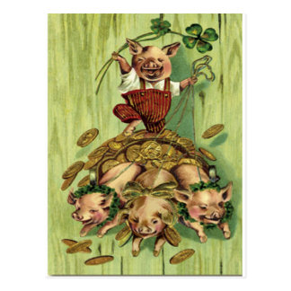 Vintage Four Leaf Clover Pig Gold St Patrick's Day Postcard