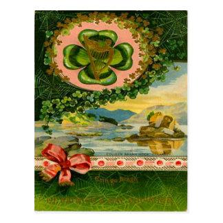 Vintage Four Leaf Clover Shamrock St Patrick's Day Postcard
