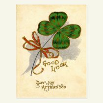 Vintage Four Leaf Clover St Patrick's Day Card