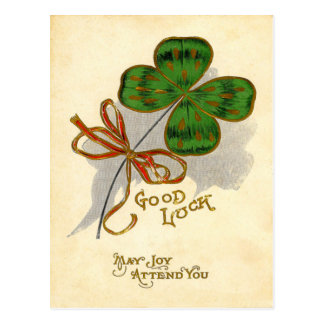 Vintage Four Leaf Clover St Patrick's Day Card