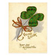 Vintage Four Leaf Clover St Patrick's Day Card Post Cards