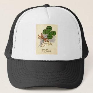 Vintage Four Leaf Clover St Patrick's Day Card Trucker Hat