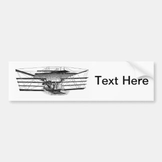 Vintage Four Wing Flying Machine Car Bumper Sticker