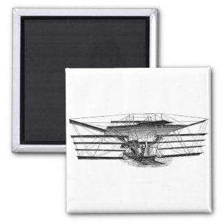 Vintage Four Wing Flying Machine 2 Inch Square Magnet