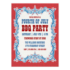 Vintage Fourth of July BBQ Party Invitation
