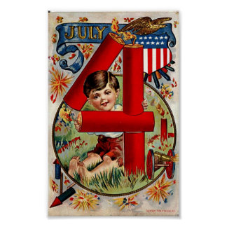 Vintage Fourth of July Boy with Fireworks Print
