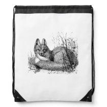 Vintage Fox Drawing Drawstring Backpack