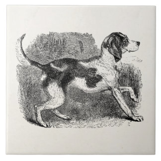Vintage Fox Hound Dog 1800s Hounds Dogs Template Tile